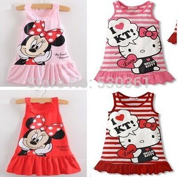 Новая одежда 2015 дети девушки милый мультфильм платье, 2 цвета красных и розовый красивую одежду, прекрасные новорожденных девочек одеваться