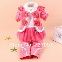 Free shipping hot selling new 2014 baby girl Clothing Set, Spring 2014 baby clothing, girl cotton lace 3 pcs kids clothes sets