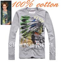 men's gray slim shirt Three-dimensional colored drawing 100% cotton star four seasons men's long-sleeve T-shirt one piece retail