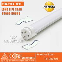 New desigh 180 degree rotation 12W led tube 1200LM 110V&220V 900mm T8 tube led light 2835 SMD CE&ROSH 6pcs/lot