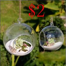 8 unidades DIA 8 CM colgante redondo glass plant aire terrariums burbuja cristal bolas mundo florero para la boda decoraciones de techo(China