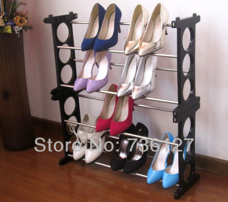 Amazing Heavy Duty 4 Tier Stackable SS Shoe Rack Storage Shelf for Dorm, Living or Bath Room, Detachable Foldable Easy Assembly(China (Mainland))