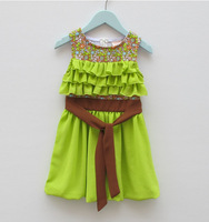 aoth58 new 2014 imported clothing 3-8 age green color princess girl dress kids dress 5pcs/ lot free shipping