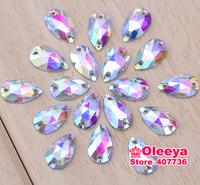 500pcs 7x12mm dropwater Acrylic Sew on rhinestones Crystal AB color  Flatback Pear Shape Sew on Crystal stone with 2 holes