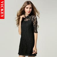 Max 5XL Plus Size 2014 New Fashion Sexy European Brand Full Lace Chiffon Two Pieces Woman's Female Lady Mini Dresses V111