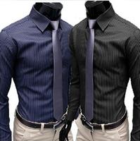 Korean Fashion Men Designer Shirt England Casual Slim Fit Striped Long Sleeve Mens Dress Shirts  XL/XXL Camisa Masculina PY654