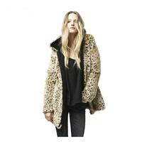 Free shipping Fashion sexy women's thick outerwear leopard print overcoat leopard print fur coat woolen outerwear