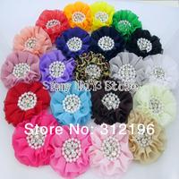 Free Shipping!40pcs/lot Beaded Chiffon Flower Pearl Rhinestone Chiffon Ruffled Flower Flat Back For Baby Girls Hair Accessories