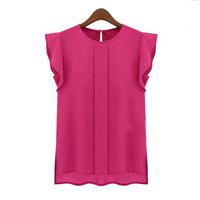 Hot Sale Women Tunic 2014 Chiffon Blouse OL Lady Round Butterfly Petal Sleeveless Top Dissymmetric Bottom Hem Tank Shirts