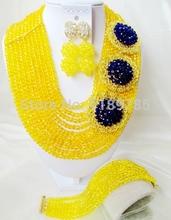 Fashion Nigerian African Wedding Beads Jewelry Set , Crystal Necklace Bracelet Earrings Set A-002(China (Mainland))