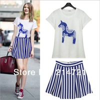 2014 summer fashion ladies' casual sets/small fresh Horse stripe Printing woman/women short-sleeve t-shirt Twinset sports suits