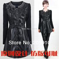 2014  Winter Autumn Slim Medium-Long Plus Size  5XL dress outerwear PU one-piece dress Openwork embroidery