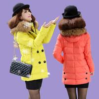 2014 Specials New Slim-season women's fashion long section of genuine fur collar down jacket women