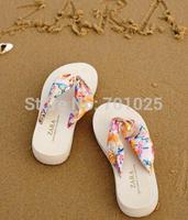 Bohemia bronzier silk sandals wedges platform high heeled flip flops women beach slippers