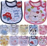 2014 Boys girls BB bib Baby Infant Cotton Cartoon bibs burp cloths Double Layers waterproof toddler kids lunch bibs Towel Saliva
