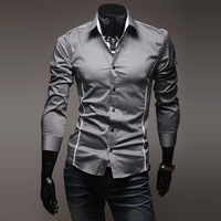 Perfect Slim cropped striped 100% cotton men's casual long-sleeved shirt personalized lapel solid color shirts