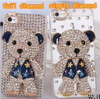 Cute Teddy bear diamond DIY rhinestone case for samsung galaxy note 2 3 s4 s3 i9500 i9300 for iphone 6 plus 5s 4s 5 4 shell