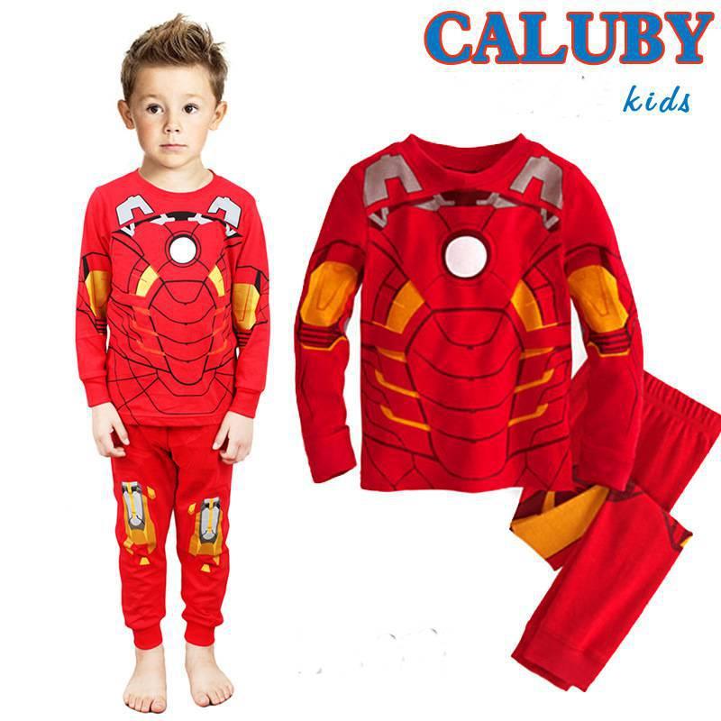 Bébés garçons costumes de coton élégant pyjama. rouge. iron man garçon. t- shirt. + pantalons 2 pièces payama vêtements. libre. navire. pijamas enfant ensembles