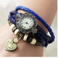 Fashion Cow Leather Strap Casual female watch wrap bracelet chain watches female women's rhinestone Dress Wristwatches