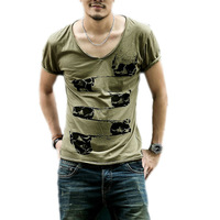 Deep Crew Neck Sexy Tee Men's Cut Off Border T Shirt All Sizes Skull Print Tonic Fitness Cotton Very Saints Style High Quality!