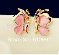 Butterfly ear clips fashion 2014 no pierced ear clip charms opal ear cuff earring girl jewelryearring for women LM-C288