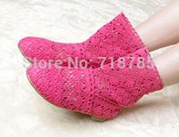 CHEAPEST  !!! Summer women's knitted cutout boots Women net  fabric cool high-leg boots female  Best gifts