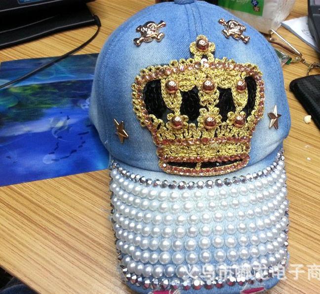 Sports sun hat leisure cowboy hat cap Spike Studs Rivet Cap Hat Five-pointed star crown pearl owl baseball cap Ms denim cap(China (Mainland))