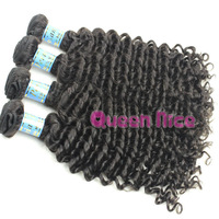 QNice hair products peru hair no processe peruv deep wave curly hair 5pcs/lot free shipping natural color