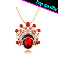 2014 New Chinese Style Beijing Opera Facial Mask Crystal Pendant Long Necklace For Women Snake Chain Sweater Chain Free Shipping