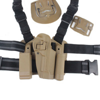 For M9 92F PT99 tactical field game puttee thigh belt drop Leg waist right handed Airsoft holster W/ Mag Flashlight Pouch Sand