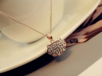 Small lock full rhinestone gold plated chain Women