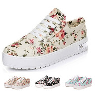 Spring 2014 Women Platform Sneakers Low Flower Print Woman Canvas Shoes Students Casual Shoes