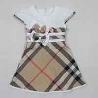 1PC New 2014 Summer Brand Baby Girls Dress Bow Baby Dress Plaid 100% Cotton Kid Dress Tutu Girl Party Dress Baptism White