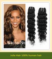 Free shipping Deep Wave 5A Unprocessed Julia queen hair 3pcs Lot Peruvian Virgin Hair Extensions Natural Color