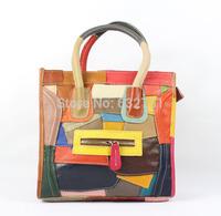 2014 women's genuine leather handbag first layer of cowhide patchwork color block smiley fashion bag one shoulder handbag