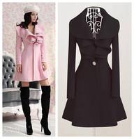 Medium-long - - pink ruffle woolen outerwear wool overcoat