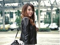 Outerwear fashion motorcycle tassel short design slim PU small leather clothing women's jacket