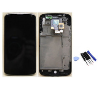 Black LCD touch screen  digitizer assembly with frame +  tools  for LG Google Nexus 4 E960