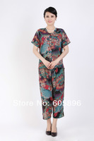 Free shipping-2014 New  mid-age women summer blouse and pants sets mother clothing