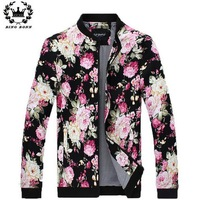 Floral Pattern Zipper Placket XXL-4XL Man Jacket Embedding Dig Bags Long Sleeve Mandarin Collar Cotton Jackets Men 8.19 Sale