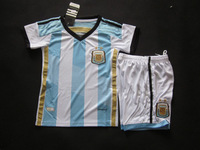 new Free Shipping high quality 2014 world cup Argentina home kids Soccer  Jersey  Soccer Shirt.