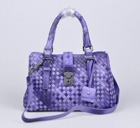 2014 Lady 100% REAL Leather Two-tone Weave buckle Tote HANDBAG gunmetal hardware Free shipping