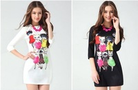Free shipping 2014 spring fashion series plus size fashion slim the cat basic one-piece dress