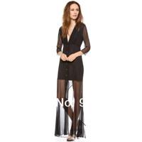 Lightmindedness georgette V-neck button charming elegant clothing three quarter sleeve one-piece dress