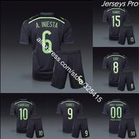 Camisetas de futbol espana 2014 spain away black soccer jerseys football kits iniesta sergio ramos david villa diego costa silva
