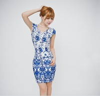 2014 spring new summer women's fashion short print loose sexy dress plus size dresses Free Shipping