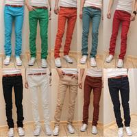 Free Shipping 2014 New Arrive mens pants male slim elastic jeans denim trousers four seasons casual mens pants jeans