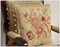 "A Pair 16""x16"" WOOL Aubusson Pillow CHIC ROSE FLORAL French Home Decor Chair Sofa Cushion Cover - Home Decorative"