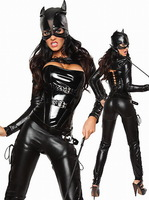 2015 Hot Selling Faux Leather Black Catwoman Catsuit Sexy Cat Costume Set Faster Delivery+Lowest Price