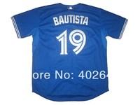Wholesale baseball Toronto blue jays #19 Jose Bautista blue jerseys, please read size chart before order